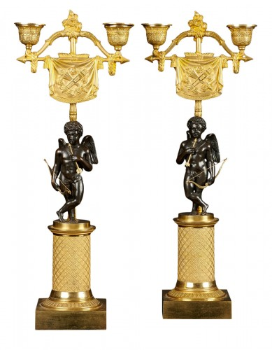 Pair of French Empire Two-light Candleholders