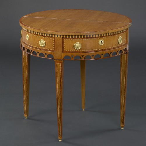 Dutch Louis XVI Demi-lune Fold-out Cards Table - Furniture Style Louis XVI