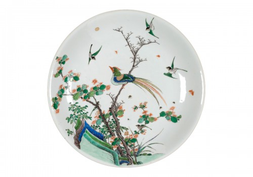 Chinese  Famille Verte Plate Decorated with Birds, China Kangxi