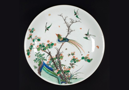 Chinese  Famille Verte Plate Decorated with Birds, China Kangxi - Porcelain & Faience Style