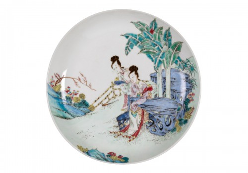 Chinese Famille Rose Plate, China JungCheng