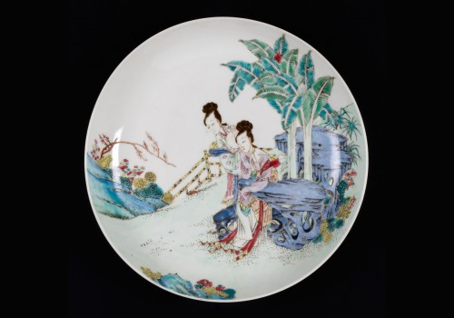 Chinese Famille Rose Plate, China JungCheng - Porcelain & Faience Style