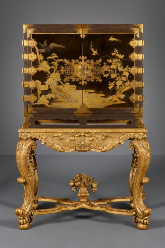 Asian Art & Antiques  - Japanese Lacquer cabinet on a French giltwood Régence stand