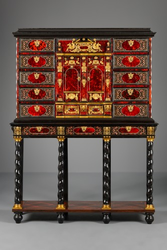 Flemish Lacquer inlaid and Tortoiseshell Cabinet-on-stand,  Antwerp - Furniture Style Louis XIV