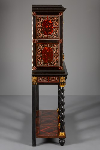 Flemish Lacquer inlaid and Tortoiseshell Cabinet-on-stand,  Antwerp -