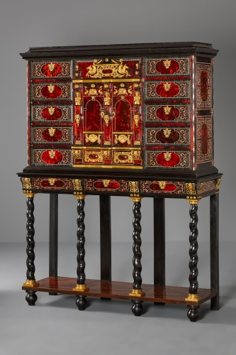 Louis XIV - Flemish Lacquer inlaid and Tortoiseshell Cabinet-on-stand,  Antwerp