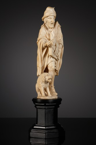 Sculpture  - French Ivory Statuette of a Hurdy Gurdy Man