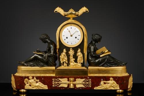 French Empire Mantel Clock, l'étude et le philosophie