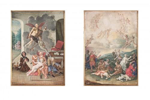 Two German Vanitas Gouache Paintings