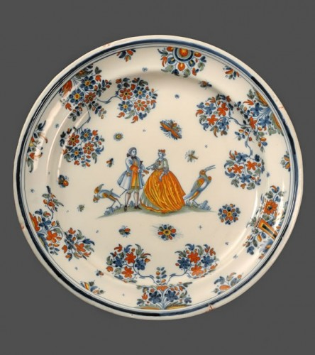 Large pair of dishes in Alcora (Spanish) faience between 1735 and 1760 - Porcelain & Faience Style