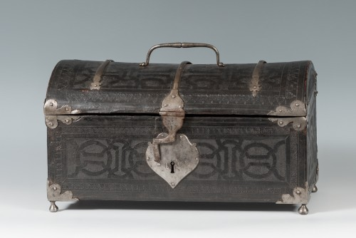 A leather casket. France, 16th century. -