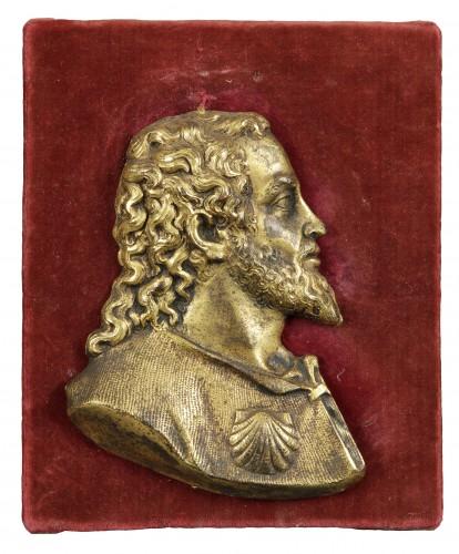 A Saint Jacques gilt bronze sculpture, Spanish school, 16th century