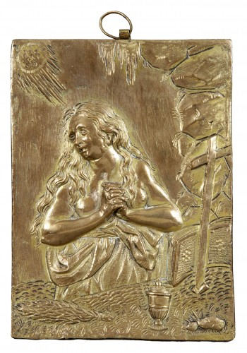 17th century gilt bronze plaque of  The Penitent Mary Magdalene.