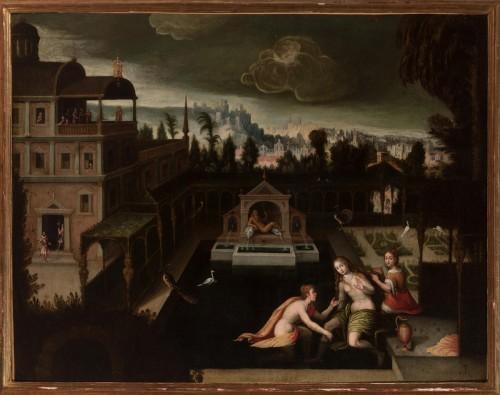 Bathsheba at Her Bath -  Madrid School around 1620 - Paintings & Drawings Style