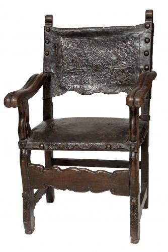 """A viceregal chair, """"frailero"""" type. Peru, first half of the 18th century."""
