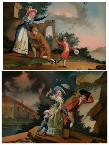 A reverse glass painting, France circa 1780