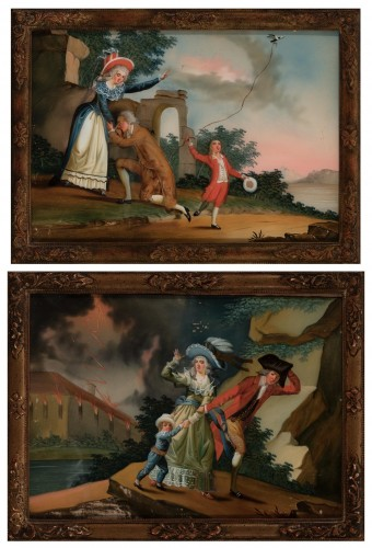 Paintings & Drawings  - A reverse glass painting, France circa 1780