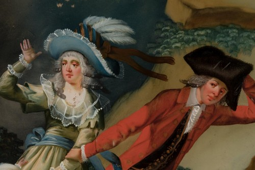 A reverse glass painting, France circa 1780 -