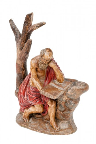 An important painted terracotta sculpture of Saint Jerome - Seville school, late 17th century.