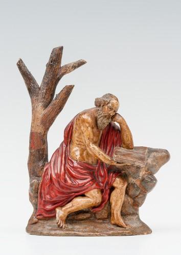 Sculpture  - An important painted terracotta sculpture of Saint Jerome - Seville school, late 17th century.