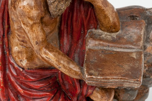 An important painted terracotta sculpture of Saint Jerome - Seville school, late 17th century. -