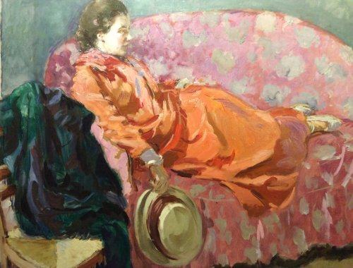 Woman retired on a sofa - Jacques MATHEY (1886-1973)