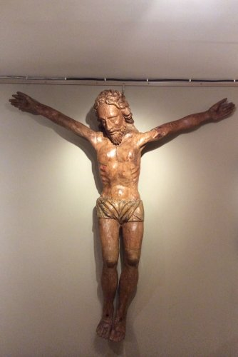 Large Poplar Wood Christ with Old Traces of Color, Late 15th Century