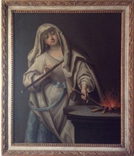 Vestal keeping the sacred fire - Follower of Jean Raoux Circa 1720