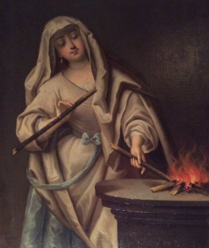 Vestal keeping the sacred fire - Follower of Jean Raoux Circa 1720 - Paintings & Drawings Style