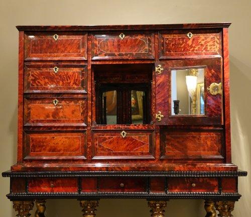 Tortoiseshell Cabinet , Antwerp Work, 17th Century  - Furniture Style Louis XIII