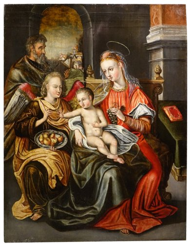 Holy family with an angel . Antwerpen Workshop,Mid 16th Century