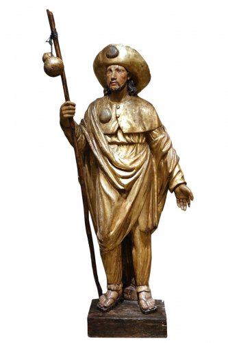 Huge Giltwood Sculpture of James the Greater as a Pilgrim, Spain, 17th Cent