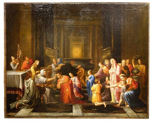 Scene of Baptism in Antiquity, Oil on Canvas, France 17th Century