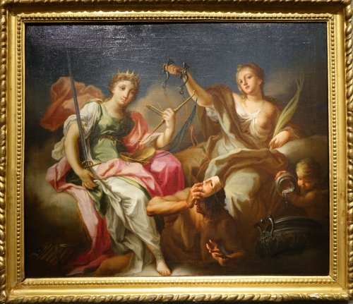 Allegory of justice and temperance - Italian school of the 18th century