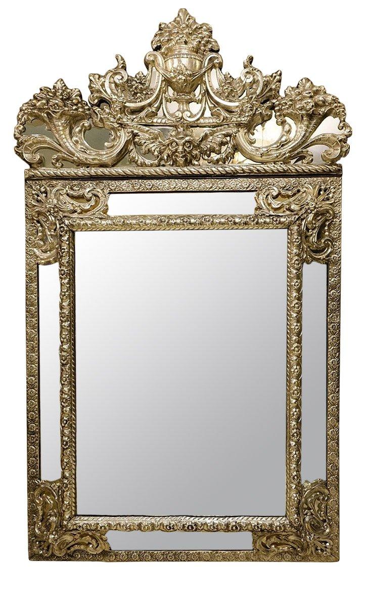 Miroir en feuilles de m tal argent fin xixe si cle for Miroir xix siecle