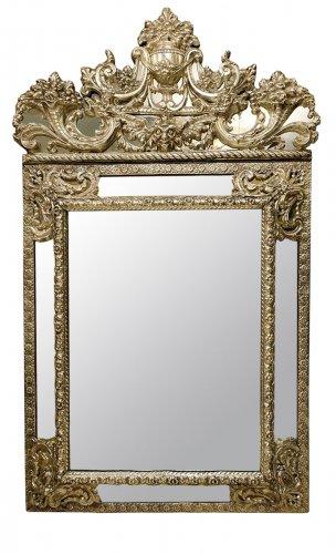 Miroir Louis XIV en metal argenté