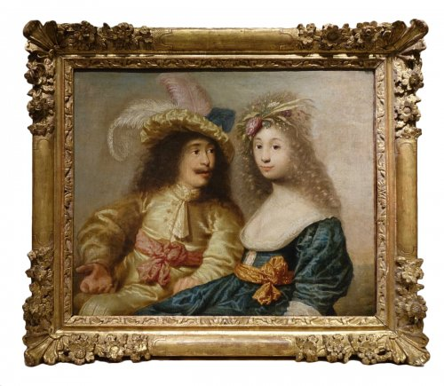 Portrait of a young couple - Flemish School of the 17th century