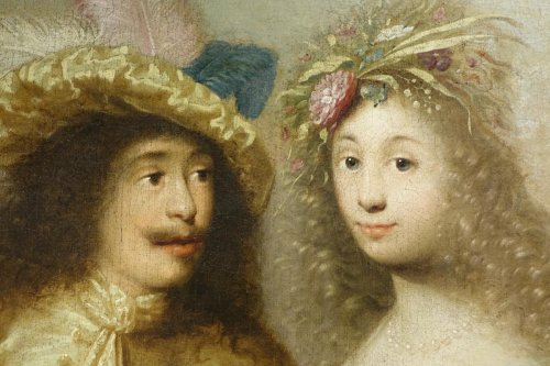 Antiquités - Portrait of a young couple - Flemish School of the 17th century