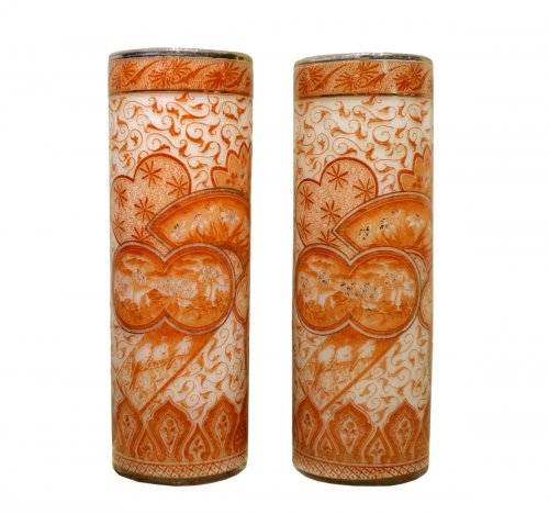 A Pair of François-Théodore Legras Antique Glass Vases Circa 1900