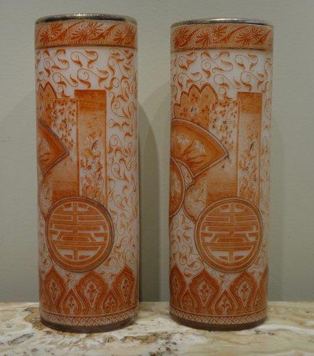 A Pair of François-Théodore Legras Antique Glass Vases Circa 1900 -