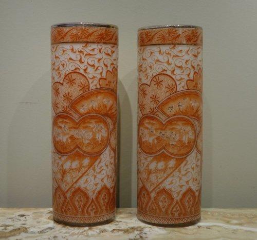 A Pair of François-Théodore Legras Antique Glass Vases Circa 1900 - Art nouveau