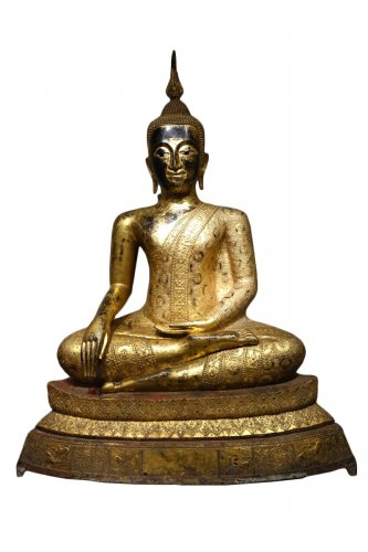 Bronze Buddha Statue in Rattanakosin Style, Late 19th Century