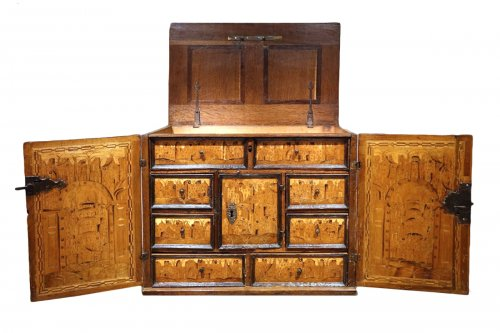 17th Century German Cabinet with a Floral and Archectural Decoration