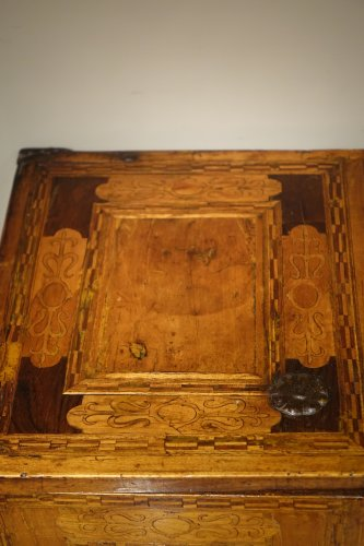 Furniture  - 17th Century German Cabinet with a Floral and Archectural Decoration