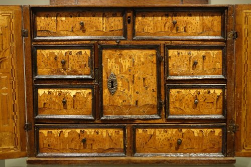 16th century - 17th Century German Cabinet with a Floral and Archectural Decoration