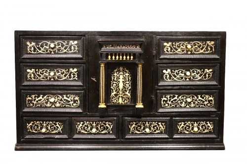 17th Century Ebonized Wood Cabinet with Inlay, Northern Italy
