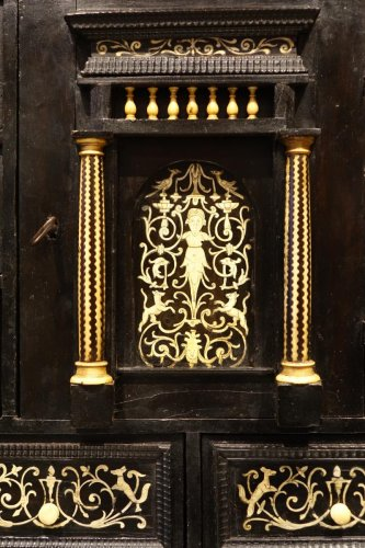 Furniture  - 17th Century Ebonized Wood Cabinet with Inlay, Northern Italy