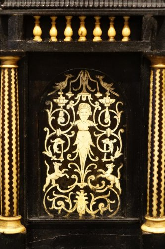 17th Century Ebonized Wood Cabinet with Inlay, Northern Italy -
