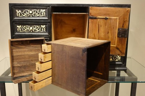 17th century - 17th Century Ebonized Wood Cabinet with Inlay, Northern Italy