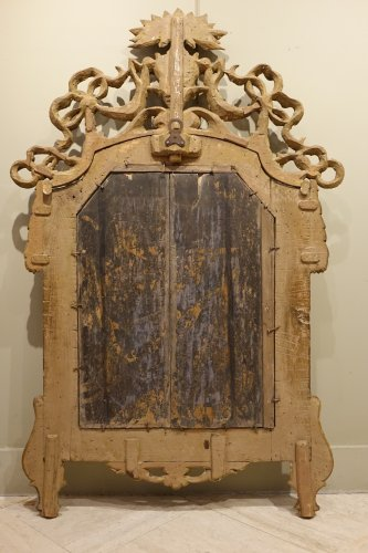 Louis XVI - 18th century Mirror in carved wood and silver plated wood